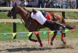 Соскок с посадкой в седло через круп лошади