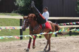 Соскок с посадкой в седло через шею лошади